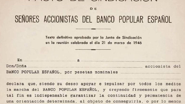Documento de una de las sindicaciones originales del banco.
