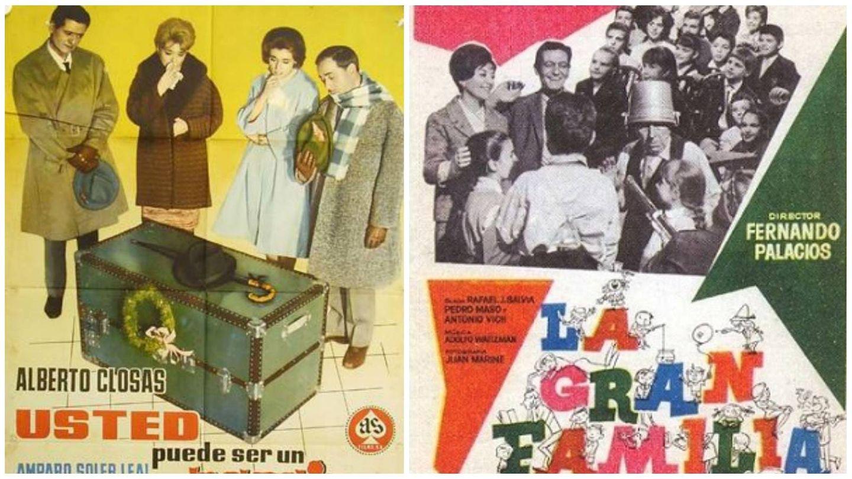 Carteles de la comedia 'Usted puede ser un asesino' y la entrañable 'La gran familia'. (As Producción y Pedro Masó)
