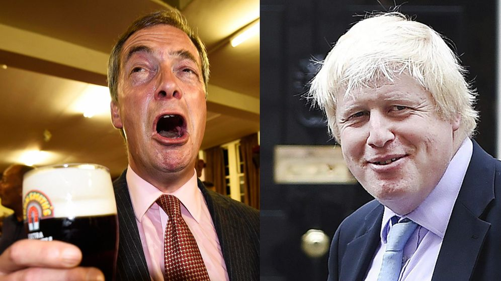Foto: Nigel Farage y Boris Johnson, políticos que sí son graciosos. (Reuters)