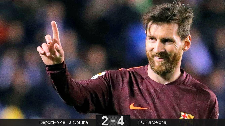 Foto: Los tres goles de Messi en Riazor sellaron el título de Liga. (EFE)