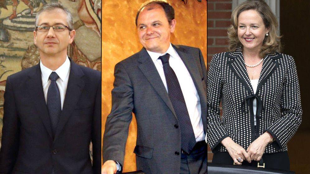 Foto: Pablo Hernández de Cos, David Vegara y Nadia Calviño. (Montaje: EC)