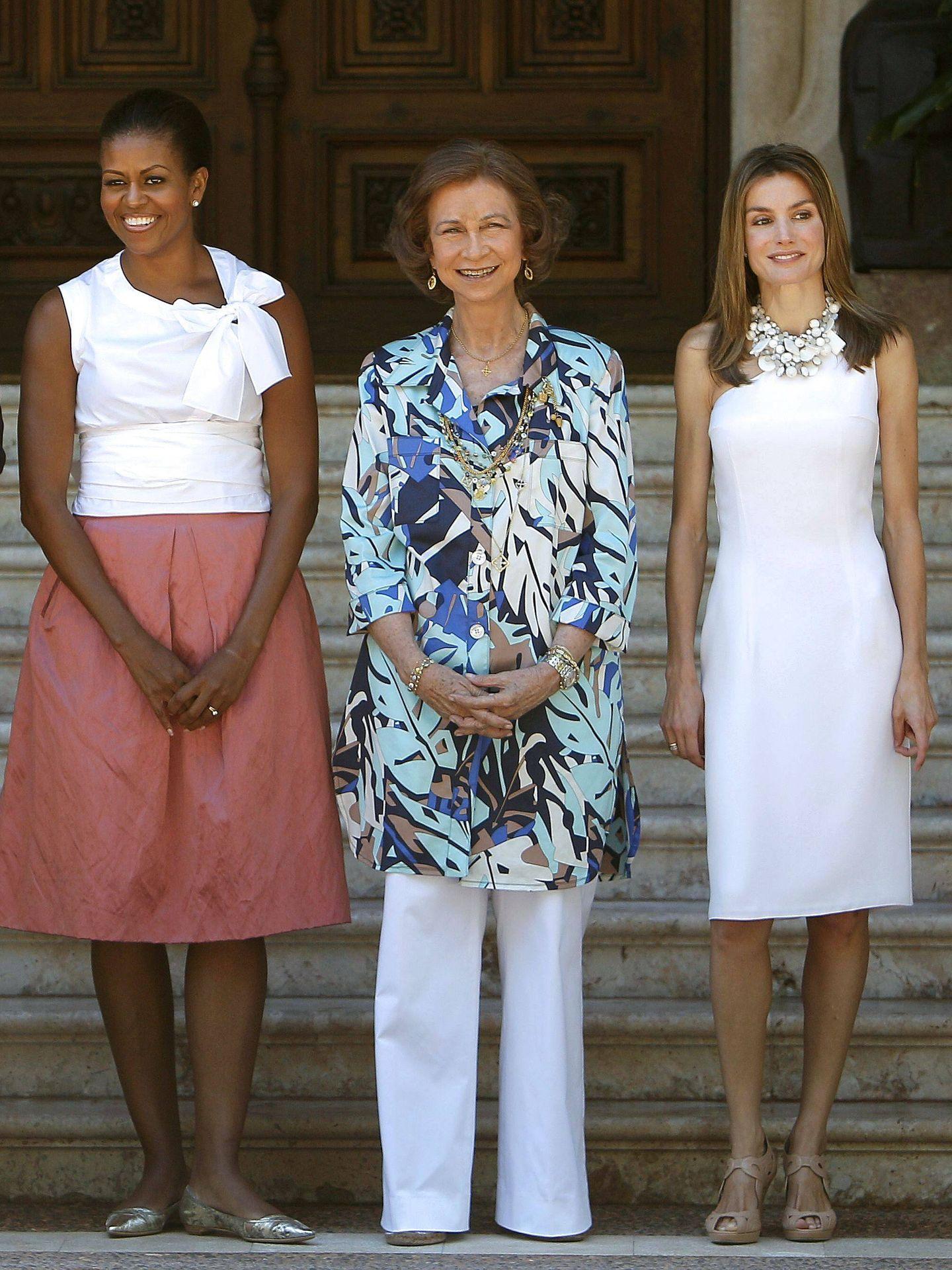 La reina Sofía recibió en Marivent a Michelle Obama. (EFE)