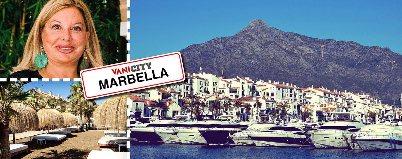 Foto: Olivia Valére junto a imágenes de Marbella en un fotomontaje realizado en 'Vanitatis'