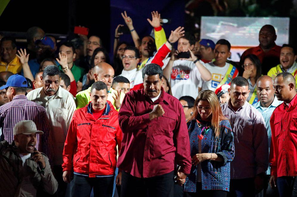 Foto: El presidente de Venezuela, Nicolás Maduro, celebra los resultados electorales en Caracas. (Reuters)