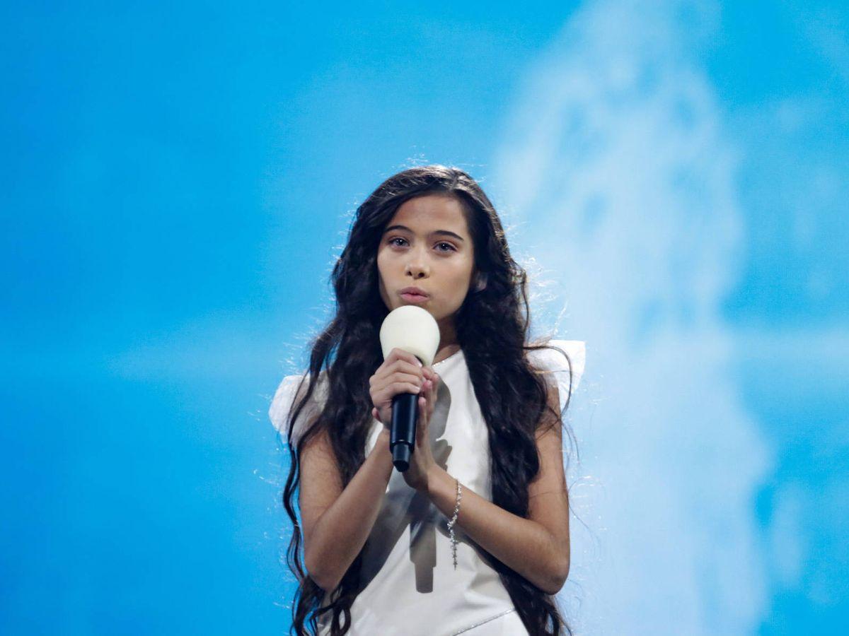 Foto: Melani García, durante uno de sus ensayos en Eurovisión Junior. (TVE)