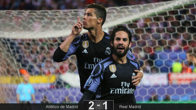 Foto: Isco y Ronaldo, con el portugués mandando a callar al Calderón, celebran el 2-1. (Reuters)