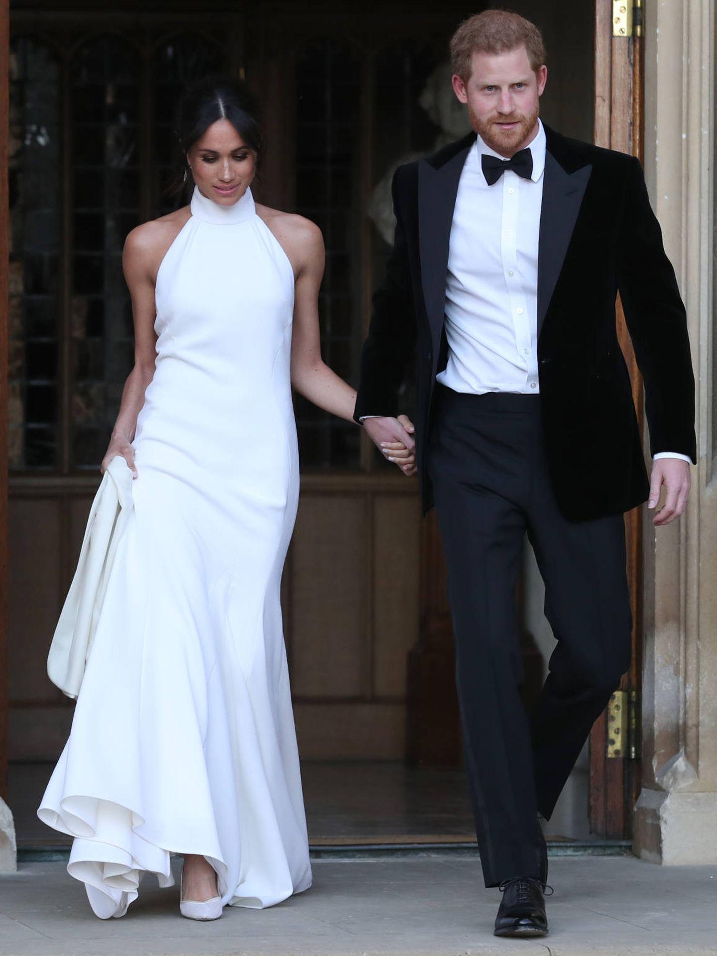 Markle en su segundo vestido de novia, firmado por McCartney. (Getty)