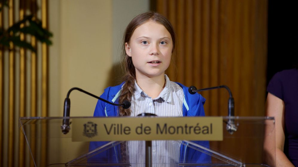 Foto: Greta Thunberg, en el acto en el que se le entregaba la llave de la ciudad de Montreal (REUTERS/Andrej Ivanov)