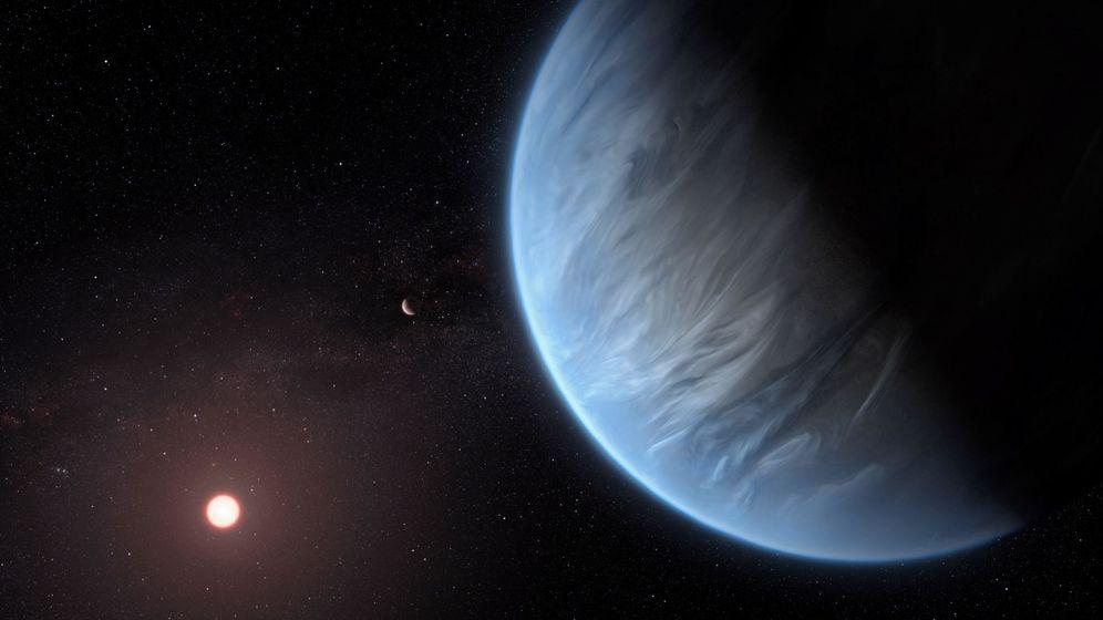 Foto: Interprestacion artística del planeta K2-18b. Foto: EFE EPA ESA Hubble, M. Kornmesser