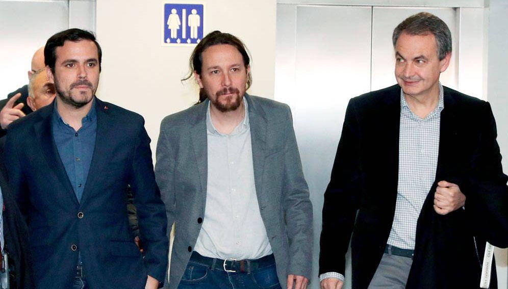 Foto: Alberto Garzón, Pablo Iglesias (c) y José Luis Rodríguez Zapatero. (EFE)