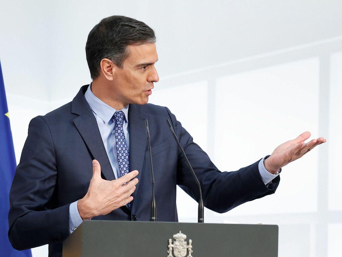 Foto: El presidente del Gobierno, Pedro Sánchez, interviene durante la presentación de la Carta de Derechos Digitales. (EFE)