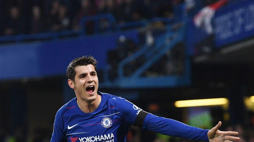 Foto: Morata, celebrando un gol en Stamford Bridge. (EFE)