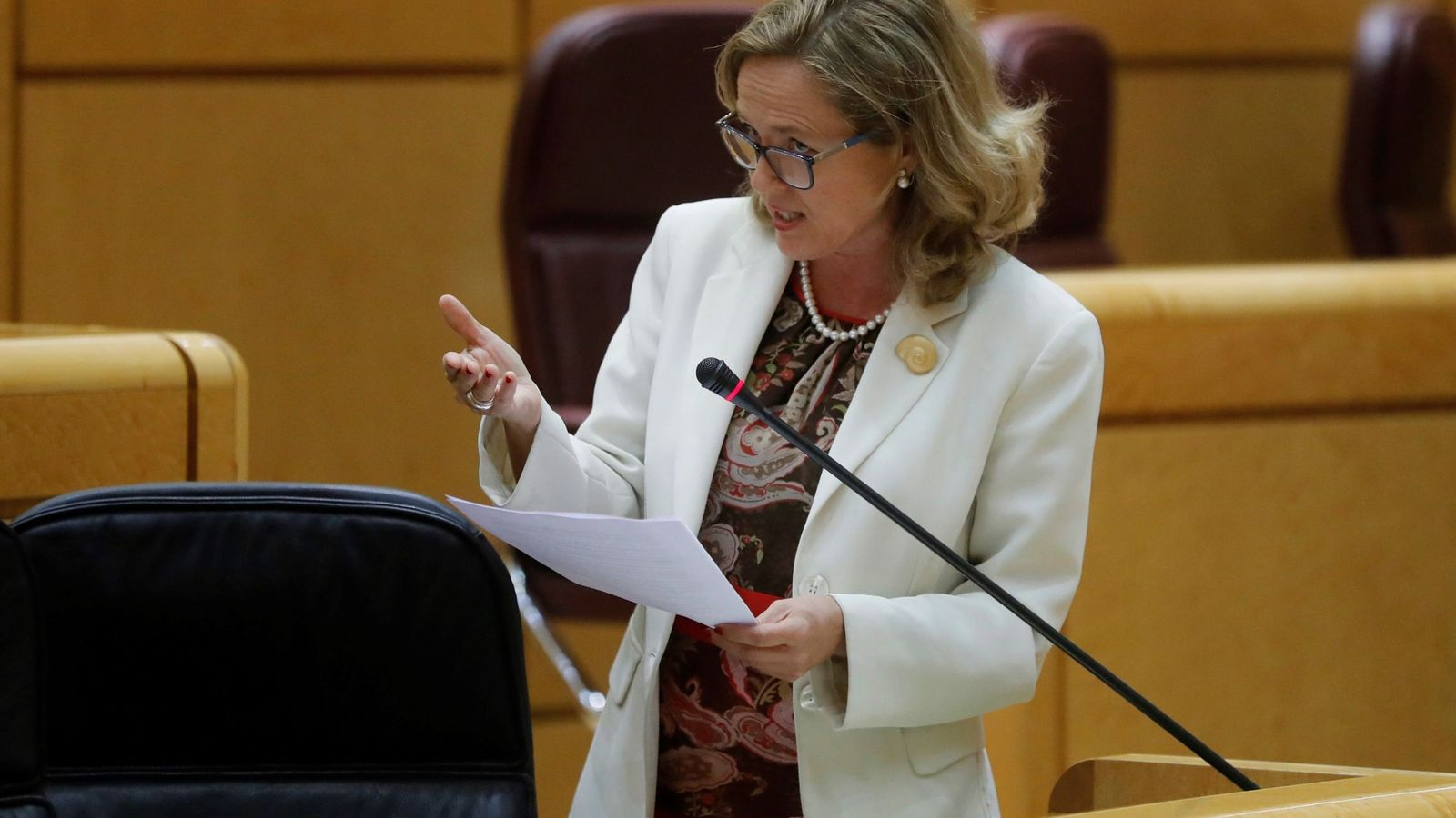 Foto: La ministra de Economía, Nadia Calviño, en el pleno del Senado. (EFE)