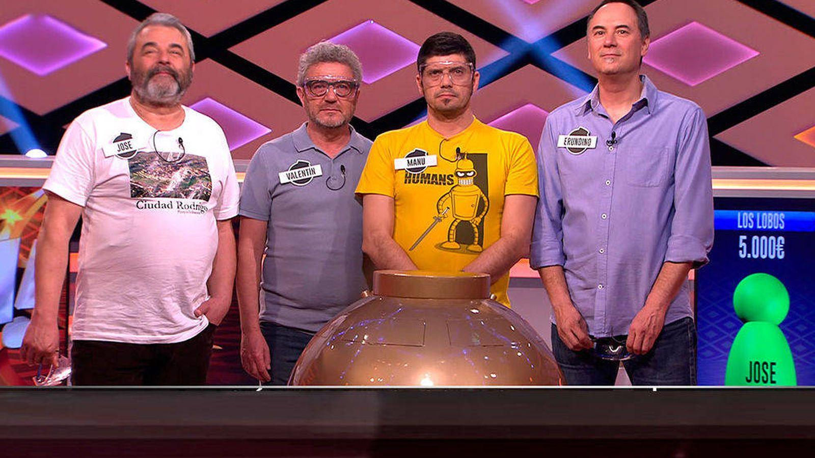Foto: José, Valentín, Manu y Erundino, en '¡Boom!'. (Atresmedia)