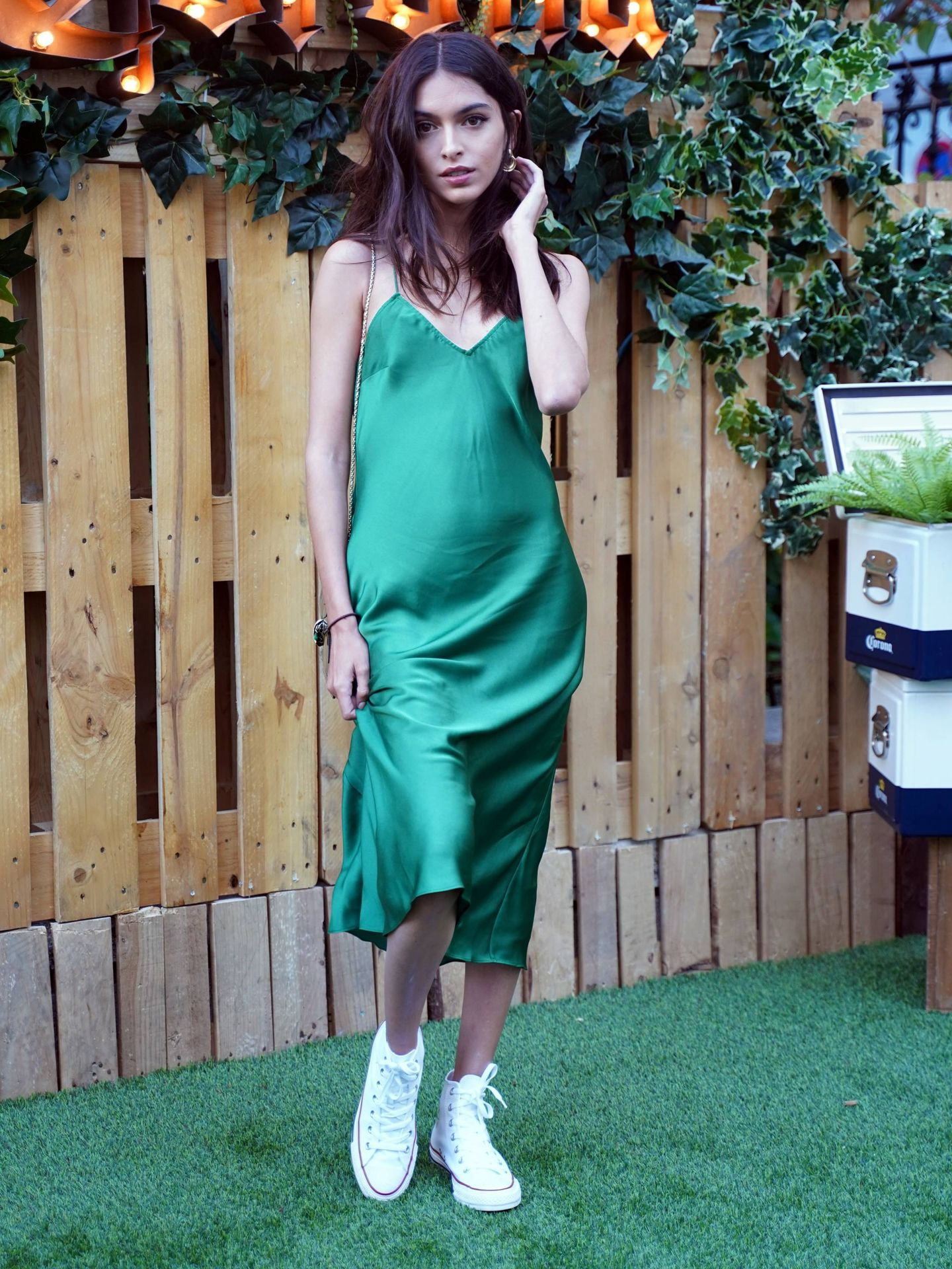 Lucía Rivera con su vestido lencero verde. (Cordon Press)