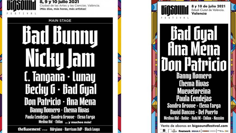 Cartel del Big Sound Festival, antes y después de los cambios.