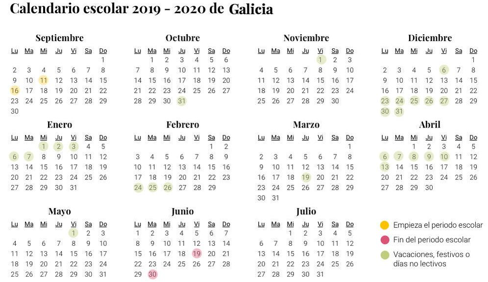 Calendario Ebau 2020 Madrid.Calendario Escolar 2019 2020 En Galicia Vacaciones