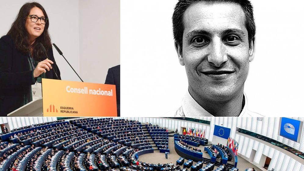 Foto: Diana Riba (ERC), Sergio Martínez y el Parlamento Europeo de Estrasburgo.