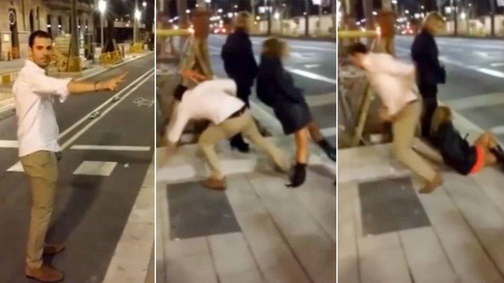 Foto: Tres capturas de la salvaje agresión en Barcelona