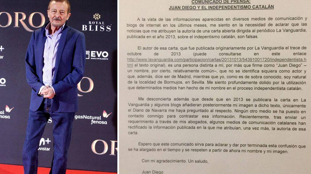 Foto: Juan Diego ha emitido un comunicado en el que desmiente ser autor de la carta.