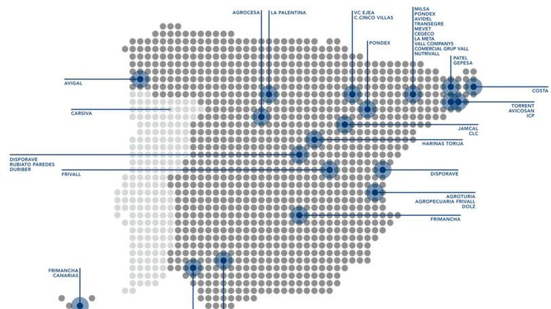 Mapa de las filiales del Grupo Vall Companys en España