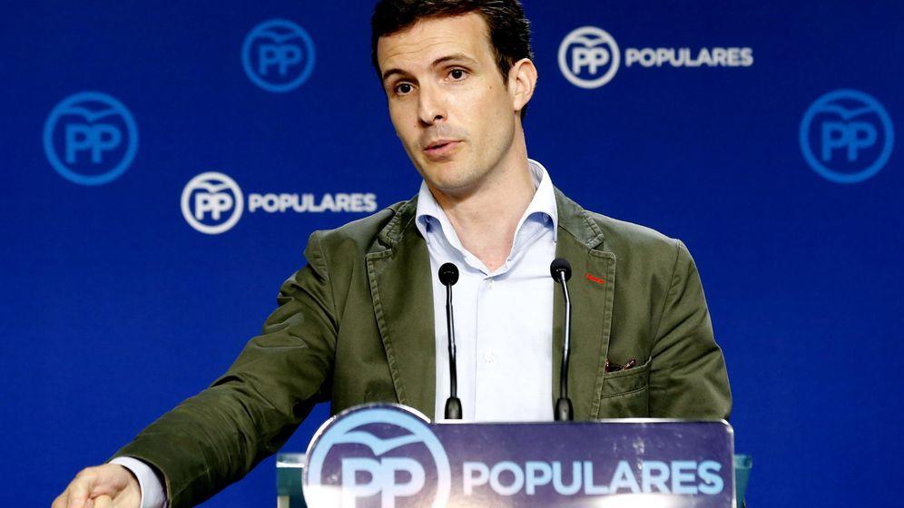 Foto: Rueda de prensa de Pablo Casado tras el comité de dirección del PP. (Efe)