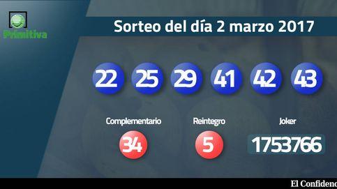 Resultados de la Primitiva del 2 marzo 2017: números 22, 25, 29, 41, 42, 43