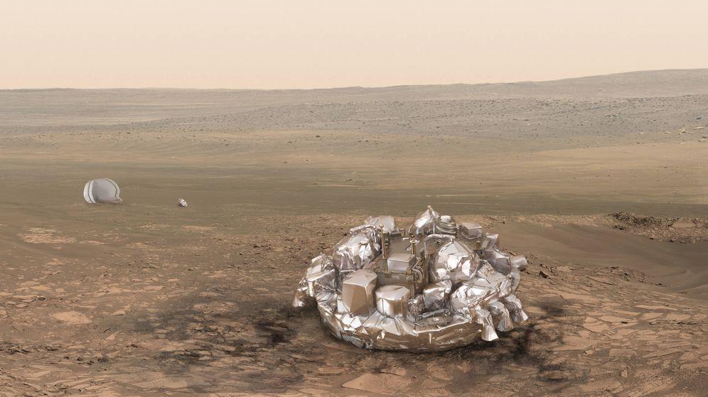 Foto: El módulo Schiaparelli, tras un supuesto aterrizaje perfecto sobre Marte. Esto, a estas alturas, parece descartado. (Ilustración: ESA)