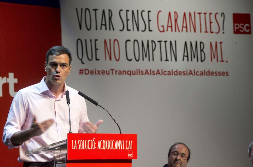 Foto: Pedro Sánchez, este 12 de septiembre en Santa Coloma de Gramenet, Barcelona, en un mitin con el PSC. (EFE)