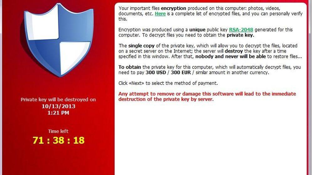 Foto: Ejemplo de 'ransomware', el virus que bloquea el ordenador