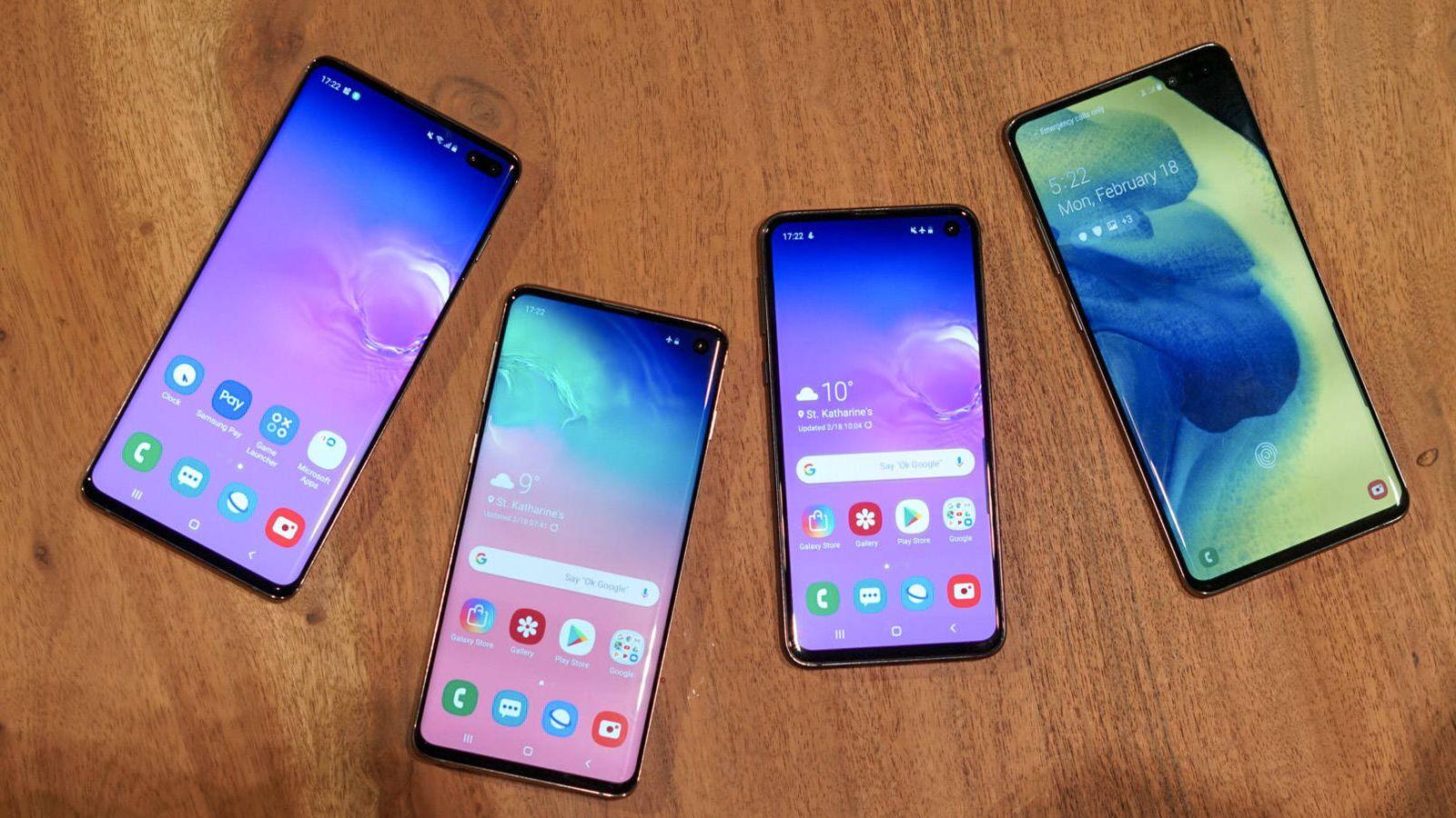 Foto: Toda la familia Samsung Galaxy S10. De izquierda a derecha. Plus, S10, S10e y S10 5G. (M. Mcloughlin)