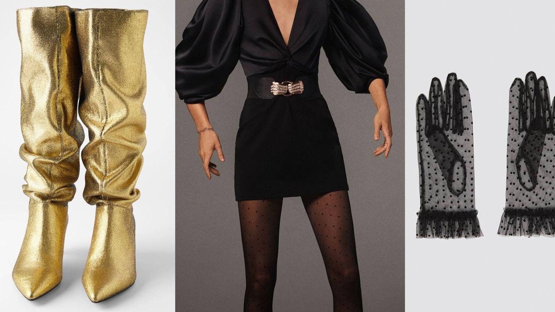 Disponibles, botas 60 euros, cinturón joya 16 euros, medias 6 euros y guantes 16 euros. (Cortesía)