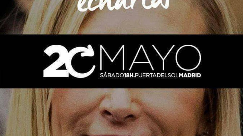 Podemos calienta el 20-M en la calle con las caras de Cifuentes y Rajoy