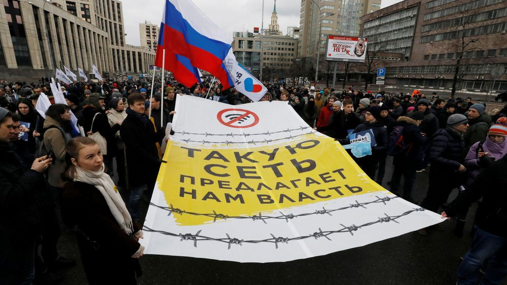 Foto: Protestas en Moscú por el control de Internet por parte del Kremlin. (Reuters)