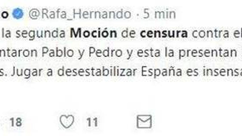 Tuit de Rafael Hernando, que después ha eliminado, sobre la moción de censura