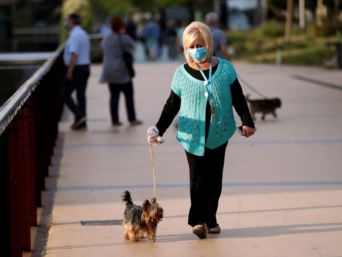 Foto: Una mujer pasea con su perro en Barcelona el pasado 7 de mayo. (EFE)