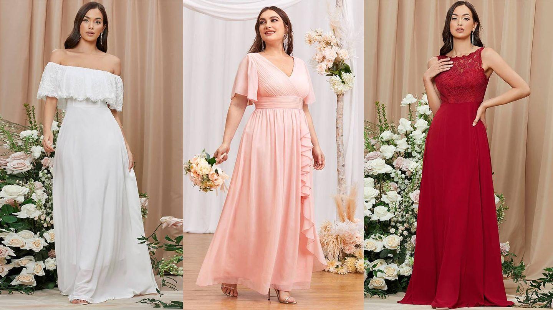 Vestidos de novia e invitada de Shein. (Cortesía)
