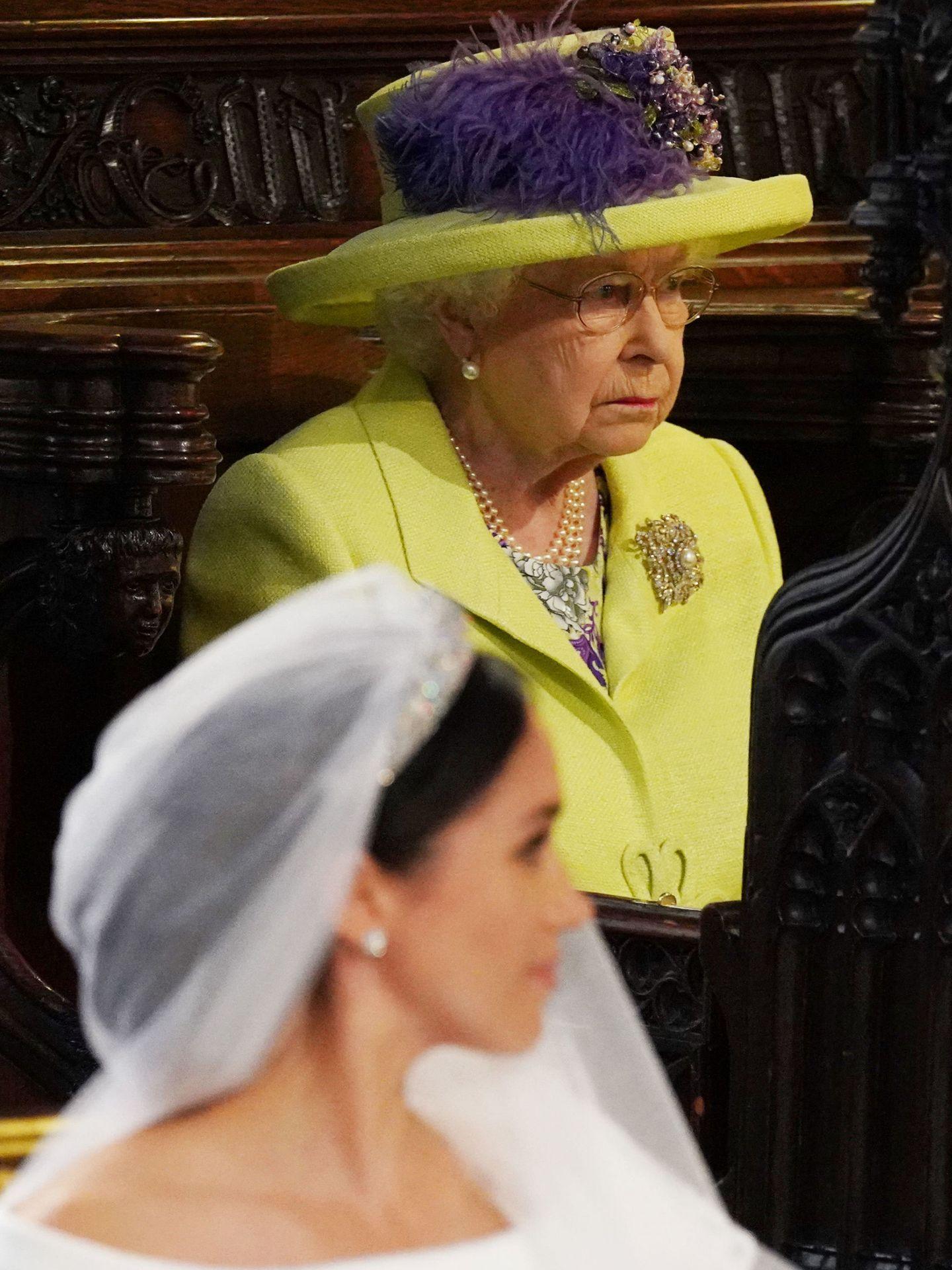 La reina Isabel, en la boda de Meghan y Harry. (Reuters)