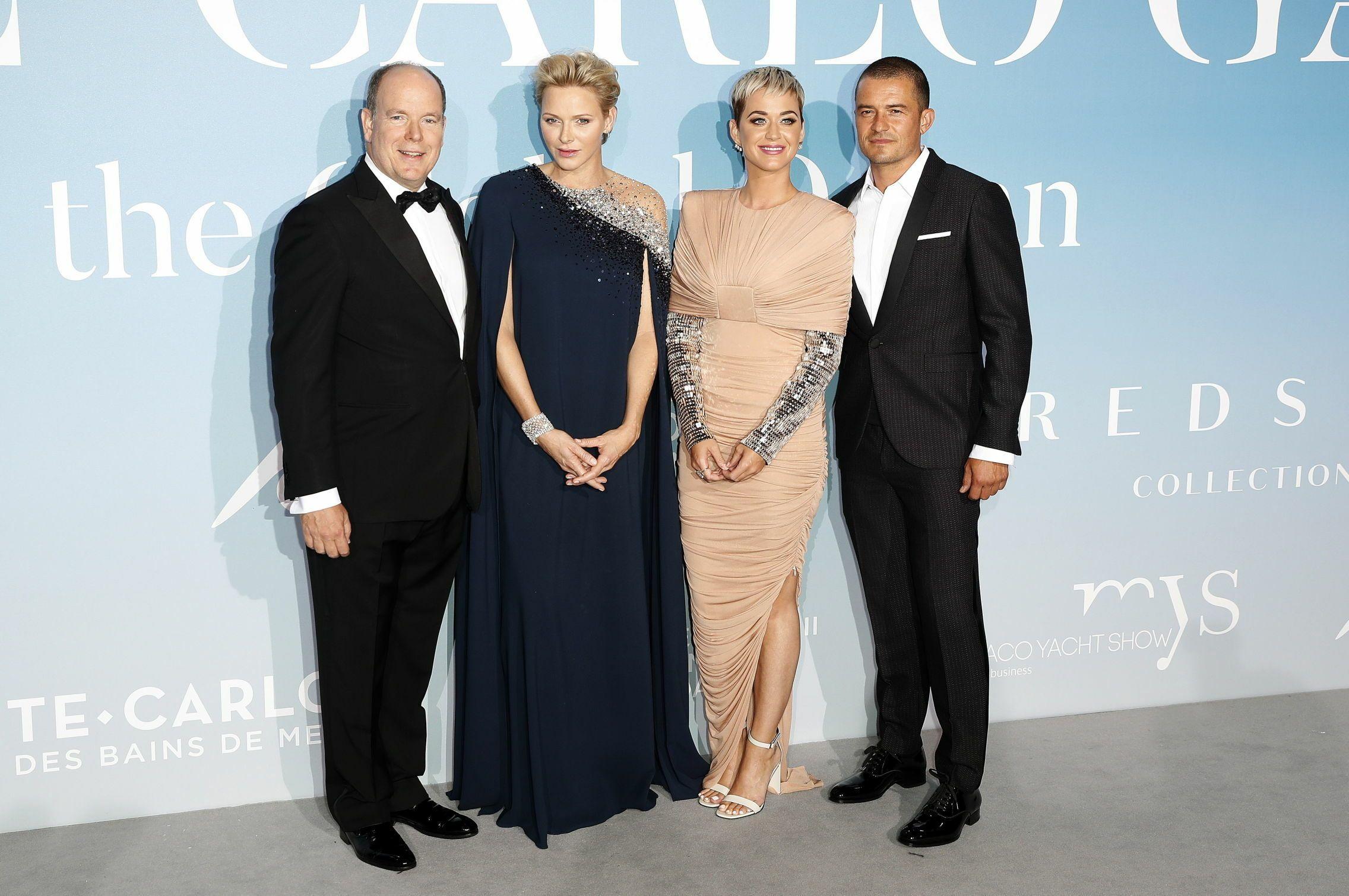 Los príncipes de Mónaco, junto a Katy Perry y Orlando Bloom. (EFE)