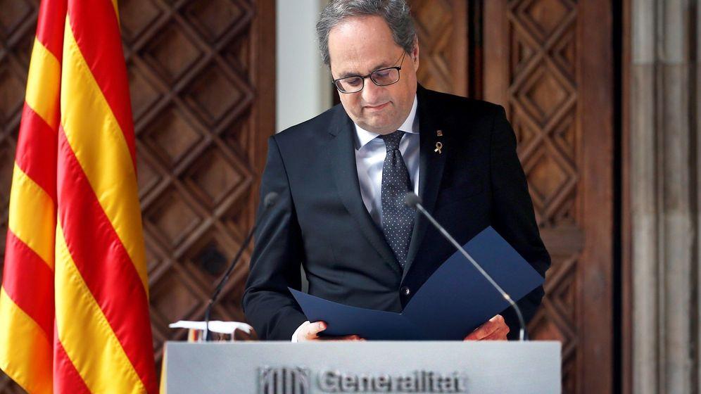 Foto: El presidente de la Generalitat, Quim Torra, en su declaración institucional. (EFE)