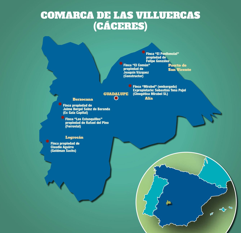 Foto: Mapa del poder de Las Villuercas (elaborado por Vanitatis)