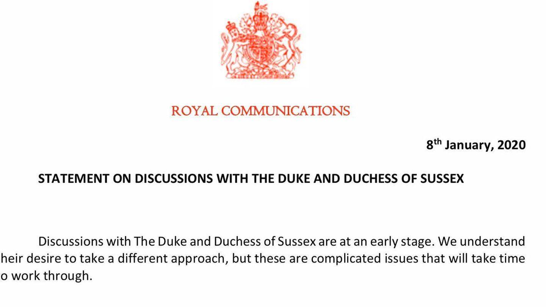 Declaración emitida por Buckingham Palace sobre la decisión de los duques de Sussex. (Royal House)