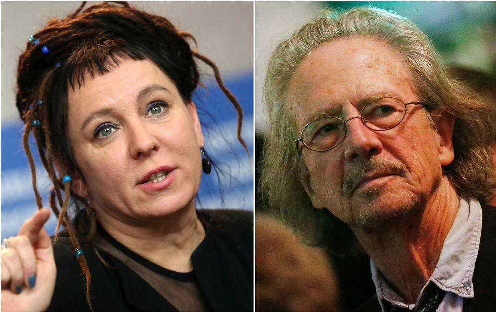 Foto: Olga Tokarczuk y Peter Handke. (EFE)