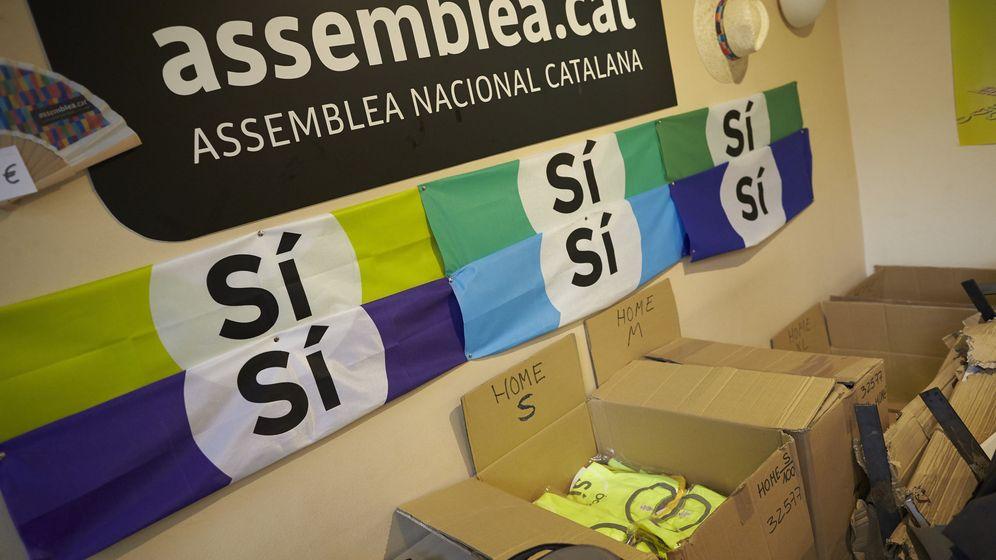 Foto: Publicidad en el interior de la sede de la Asamblea Nacional Catalana (ANC). (EFE)