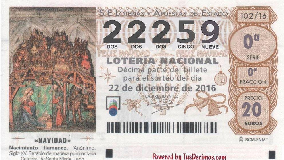 El primer quinto premio de la Lotería de Navidad: número 22.259