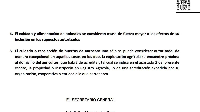 Fragmento del oficio de Delegación del Gobierno en Valencia a Policía y Guardia Civil.