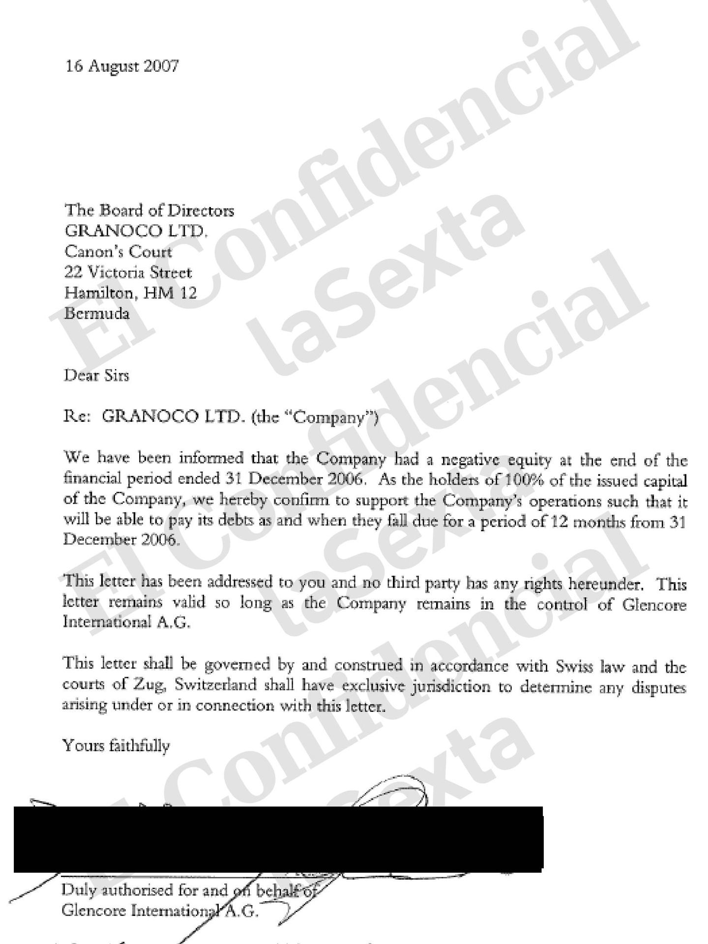 Respaldo financiero de Glencore Internacional AG a una sociedad de Bermudas firmado por Daniel Maté.