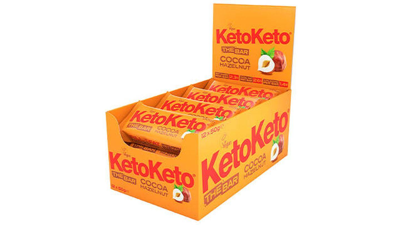 Barritas de cacao y avellanas para dieta Keto