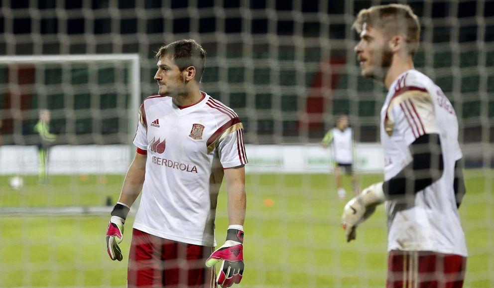Foto: Casillas y De Gea, en un entrenamiento con la selección (EFE)