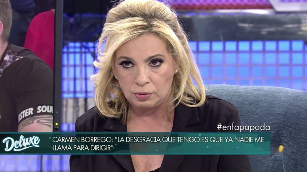 Foto: Carmen Borrego, durante su última entrevista en 'Sábado Deluxe'. (Mediaset)